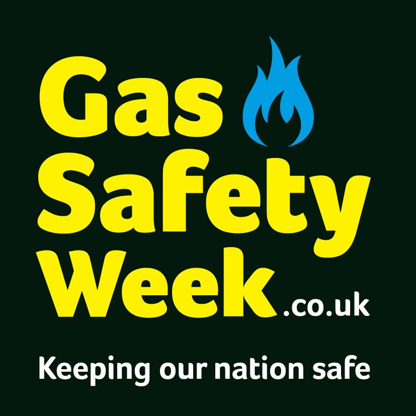Gas Safety Week logo on a black background.  Tagline: Keeping our nation safe.