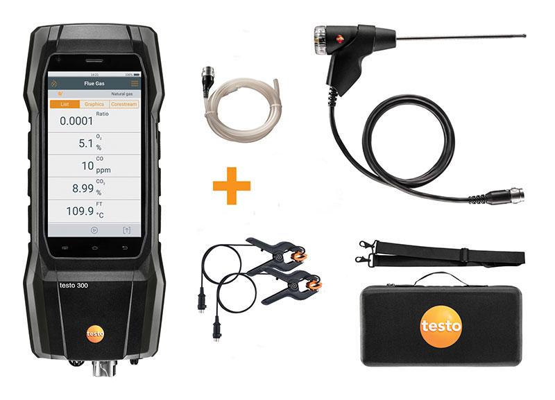 Testo 300 Flue Gas Analyser - Advanced Kit: 300 Analyser, flue probe, Testo case, shoulder strap, clamps, tubing
