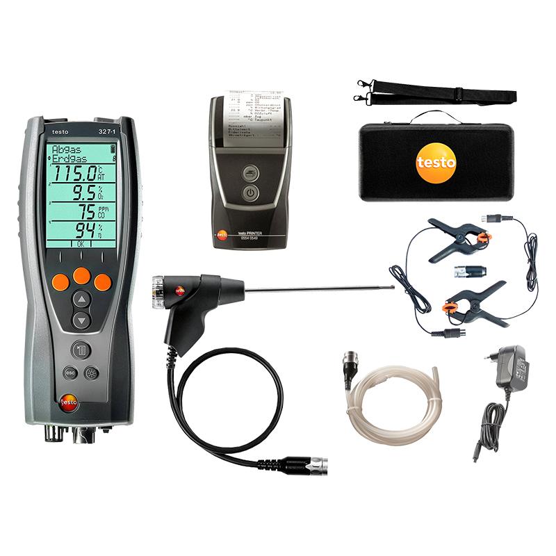 Testo 327-1 Flue Gas Analyser - Advanced Kit: 327-1 Analyser, flue probe, Testo case, shoulder strap, charger, tube, clamps, printer