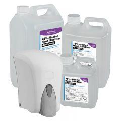 1000ml Refillable Dispenser & 1L/2.5L/5L WHO Formula 75% Alcohol Gel Hand Sanitiser