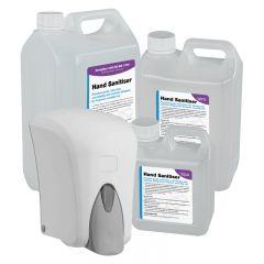 1000ml Refillable  Dispenser & 1L/2.5L/5L Liquid Hand Sanitiser (BS EN 1276)