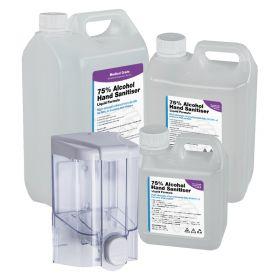 500ml Refillable Dispenser & 1L/2.5L/5L WHO Formula 75% Alcohol Liquid Hand Sanitiser