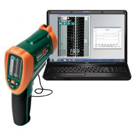 Extech VIR50 Dual Laser IR Video Thermometer with laptop