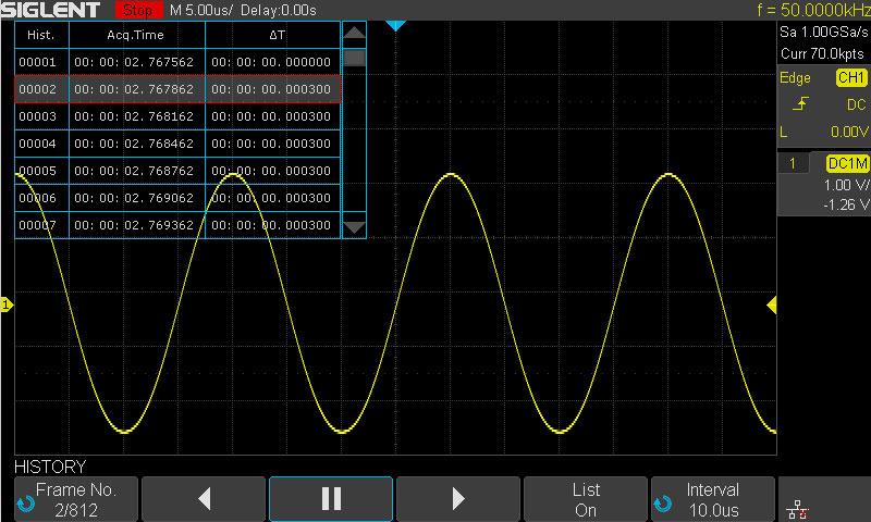 SDS1202X-E History Waveform
