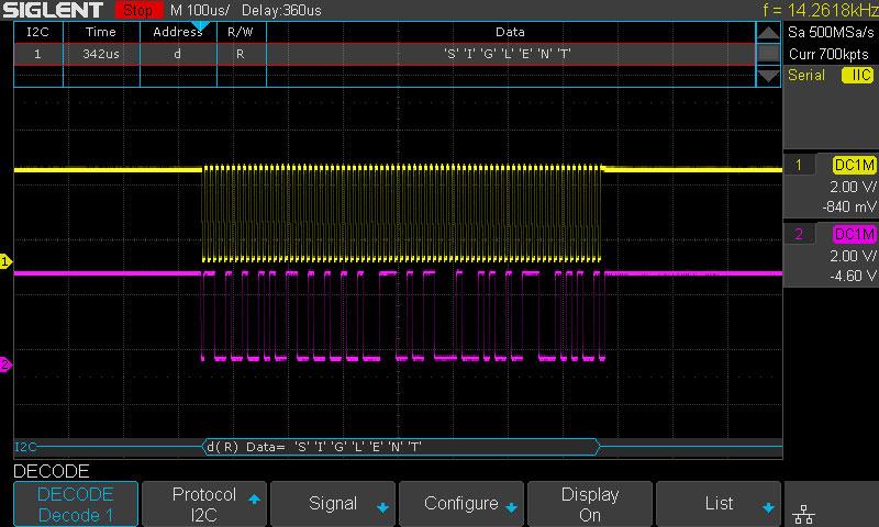 SDS1202X-E Serial Bus Decoding