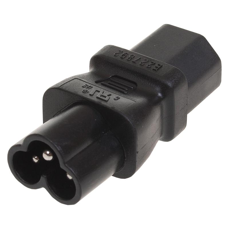 IEC (C13 Female) to Cloverleaf (C6 Male) PAT Adaptor