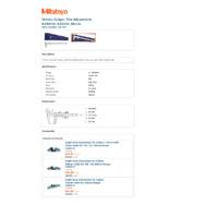 Mitutoyo Series 532 Vernier Thumbwheel Caliper (532-103) - Datasheet