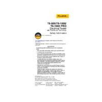 Fluke T6-1000 PRO Electrical Tester - Safety Information