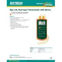 Extech 421502 Type J & K Dual Input Thermometer with Alarm - Datasheet