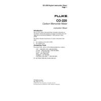 Fluke CO220 - Instruction Sheet