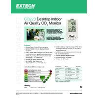 Extech CO220 Desktop Indoor Air Quality CO2 Monitor - Datasheet