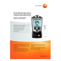 Testo 610 Compact Humidity and Temperature Meter - Datasheet