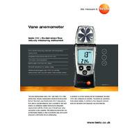 Testo 410-2 Vane Anemometer - Datasheet