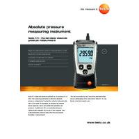 Testo 511 Absolute Pressure Meter - Datasheet