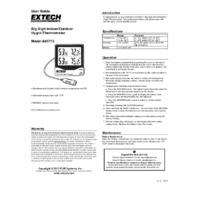 Extech 445713 Big Digit Hygrothermometer - User Manual