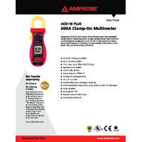 Amprobe ACD-10 PLUS Clamp Multimeter 600A - Datasheet