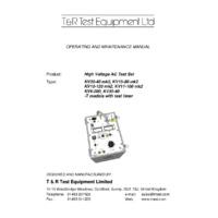 T & R KV10-120 High Voltage AC Test Set - User Manual