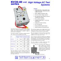 T & R KV10-120 High Voltage AC Test Set - Datasheet