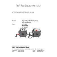 T & R Dual Unit HV Test Trolley - User Manual