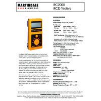 Martindale RC2000 RCD Tester - Datasheet