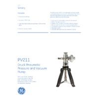 GE Druck PV211 Pneumatic Pressure and Vacuum Pump - Datasheet