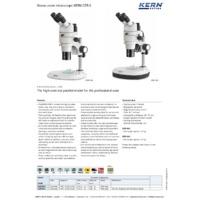 Kern OZR-5 Parallel High Contrast Stereo Zoom Microscope - Datasheet