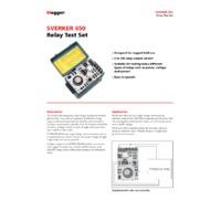 Megger SVERKER650 Single Phase Relay Tester - Datasheet