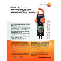 Testo 770-1 Clamp Meter - Datasheet