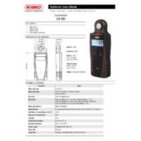 KIMO LX50 Light Meter - Datasheet