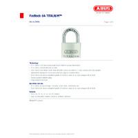 ABUS 64 TITALIUM™ Padlock - Datasheet