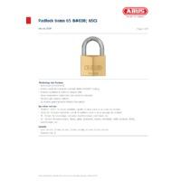 ABUS 65 Series Brass Padlocks - Datasheet
