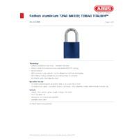 ABUS 72-40 Aluminium Padlock - Datasheet