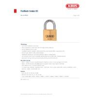 ABUS 85 Brass Padlocks - Datasheet