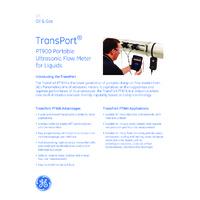 GE Panametric Transport® PT900 Portable Ultrasonic Liquid Flow Meter - Datasheet