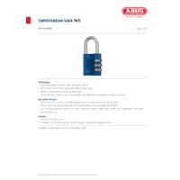 ABUS 145 Rainbow Combination Padlock Kits - Datasheet