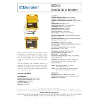 Martindale Metrohm E3511 5kV Analogue Insulation Tester - Datasheet