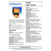 Martindale Metrohm E3640 4kV Flash Tester - Datasheet