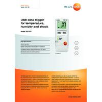 Testo 184 G1 Temperature, Humidity and Shock Data Logger - Datasheet
