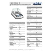 Kern EWJ600-2M Automatic Adjustment Precision Balances - Technical Specifications