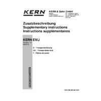 Kern EWJ Automatic Adjustment Precision Balances - Supplementary Instructions