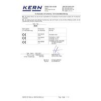 Kern EOC Dual-Range Industrial Platform Scales - Declaration of Conformity