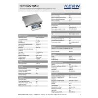 Kern EOC 100K-3 Dual-Range Industrial Platform Scales - Technical Specifications