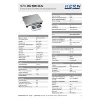 Kern EOC 100K-2XXL Dual-Range Industrial Platform Scales - Technical Specifications