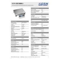 Kern EOC 300K-3 Dual-Range Industrial Platform Scales - Technical Specifications