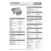 Kern EOC 30K-4 Dual-Range Industrial Platform Scales - Technical Specifications