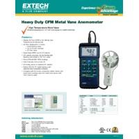 Extech 407113 Heavy Duty CFM Metal Vane Anemometer - Datasheet