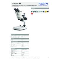 Kern OZL 465 Binocular Stereo Zoom Microscope - Technical Specifications