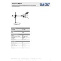 Kern OZM 932 Binocular Stereo Microscope Sets – Technical Specifications