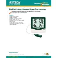 Extech 445713 Big Digit Indoor/Outdoor Hygro Thermometer - Datasheet