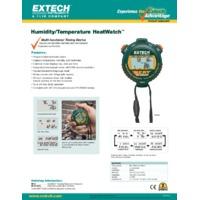 Extech HW30 HeatWatch Humidity/Temperature Stopwatch - Datasheet
